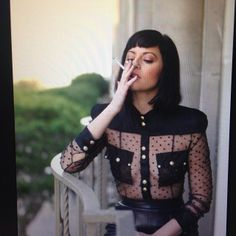 Sophia amoruso style black see through sheer shirt smoking