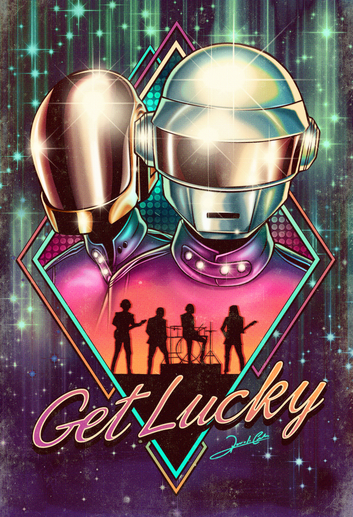 daft_punk_get_lucky shes up all night to get some technologic images illustrations pharrell williams happy space galaxy
