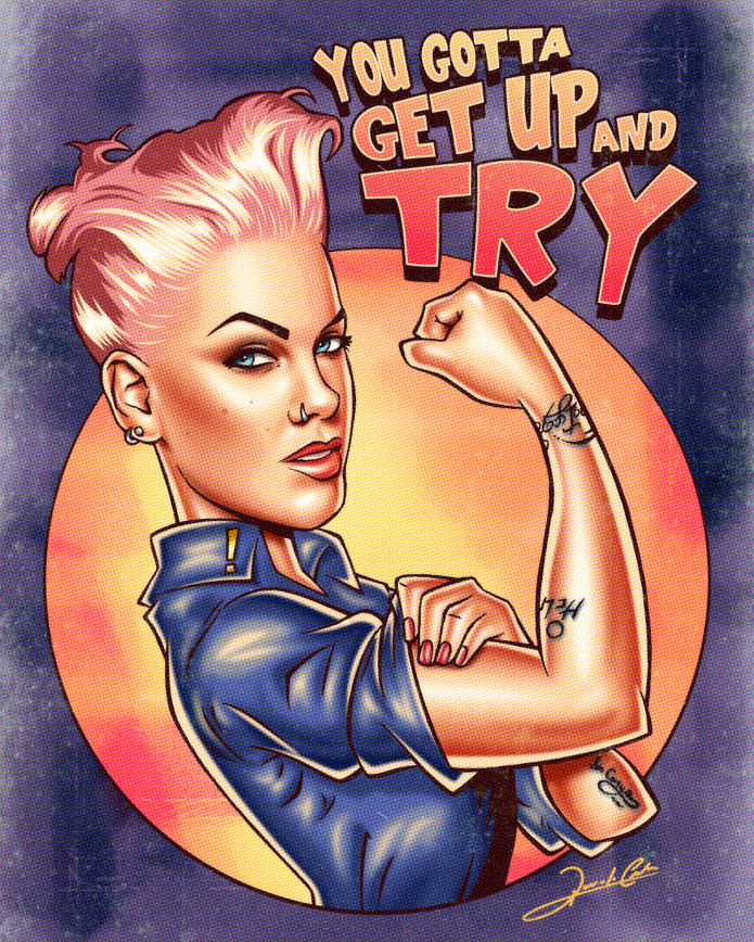 pink_pinup2 you gotta get up and try illustration graphic print retro cool funky illustrations by renato cunha south american art addicted to everything.com