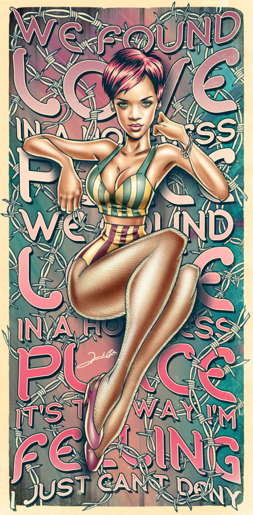 rihanna_pinup1 we found love in a hopeless place illustration graphic print retro cool funky illustrations by renato cunha south american art addicted to everything.com
