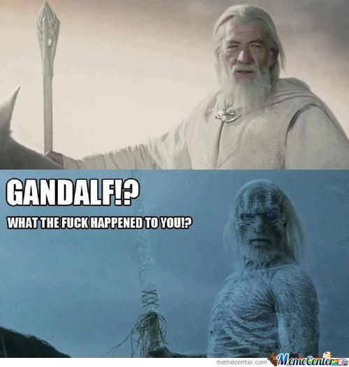 game-of-thrones-lord-of-the-rings-crossover gandalf main whitewalker meme scariest white walker winter is coming ate