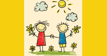 kids-Drawing-of-happy-kids-colouring-crayons-flowers-kids-playing-sun-sky-and-clouds-10-things-kids-would-say-to-their-parents