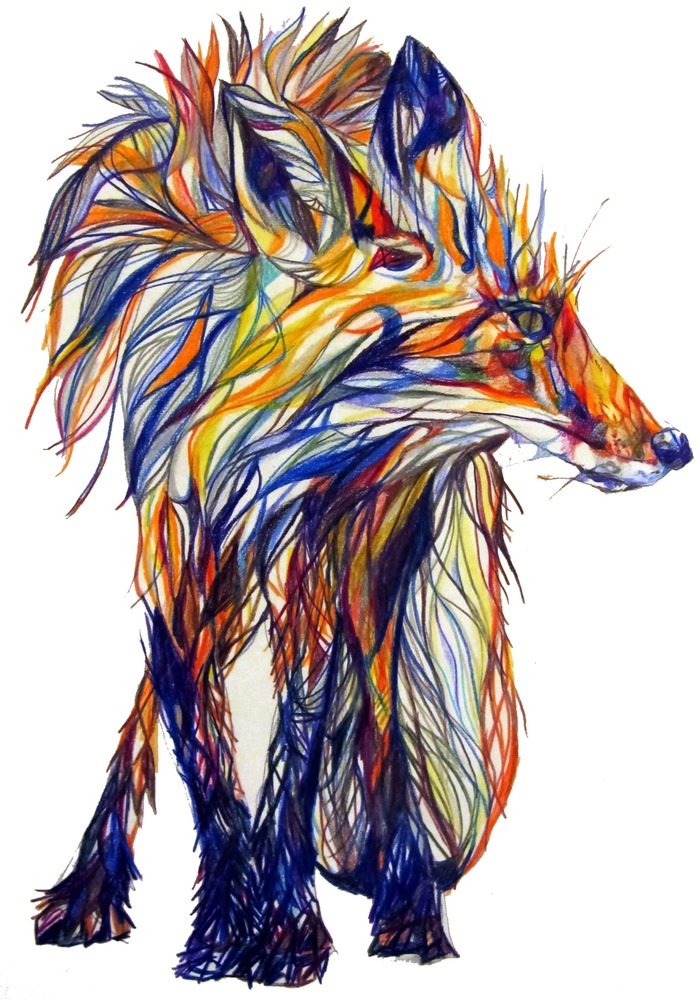 standing fox_claudine-osullivan unreal pencil drawings top colouring pencil illustrations englands top illustrators cool art part 2 addictedtoeverything
