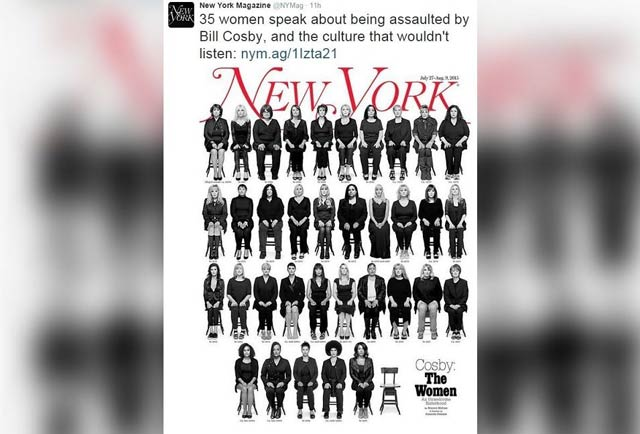 New york magazine front cover on bill cosby celebs charged in 2015 the 35 women assaulted by bill cosby
