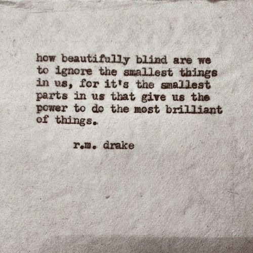 how beautifully blind are we to ignore the smallest things in us rm drake quote