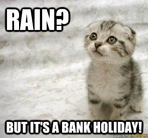 bank holiday weekend meme cat kitten rain on a bank holiday weekend bad weather